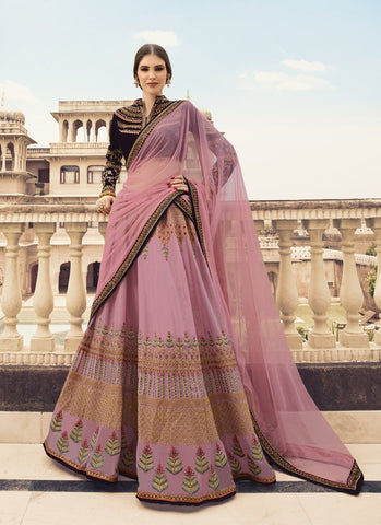Baby Pink Color Organza Women's Semi-Stitched Lehenga - RS1651