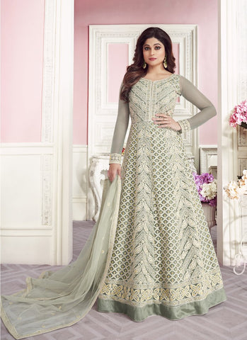Grey Color ButterFly Net Women's Semi-Stitched Lehenga - RS1689