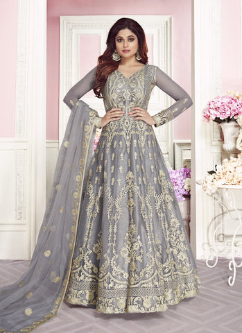 Grey Color ButterFly Net Women's Semi-Stitched Lehenga - RS1691