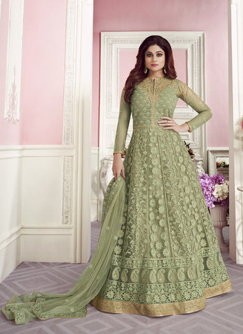 Sea Green Color ButterFly Net Women's Semi-Stitched Lehenga - RS1692