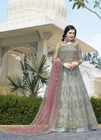 Grey Color Super Net Women's Semi-Stitched Lehenga - RS1694