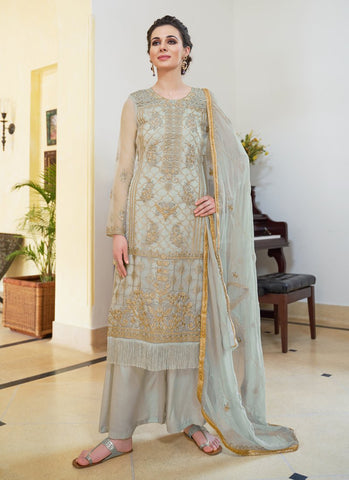 Grey Color Organza Women's Semi-Stitched Salwar Suit - RS1702