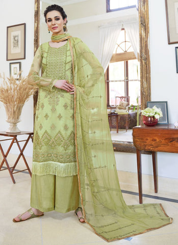 Sea Green Color Organza Women's Semi-Stitched Salwar Suit - RS1703