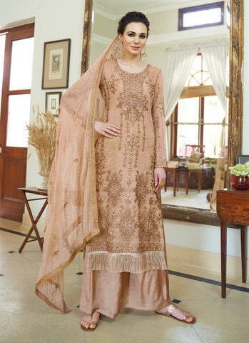 Cream Color Organza Women's Semi-Stitched Salwar Suit - RS1704