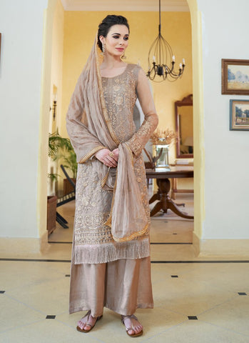Cream Color Organza Women's Semi-Stitched Salwar Suit - RS1706