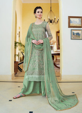 Sea Green Color Organza Women's Semi-Stitched Salwar Suit - RS1707