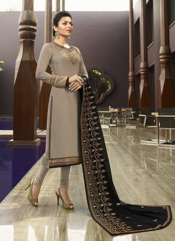 Grey Color Satin Georgette Women's Semi Stitched Salwar - RS1738