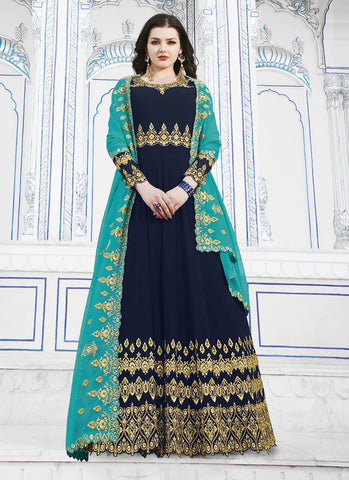 Navy Blue Color Soft Georgette Women's Semi Stitched Salwar - RS1751