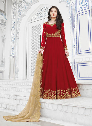 Red Color Soft Georgette Women's Semi Stitched Salwar - RS1752