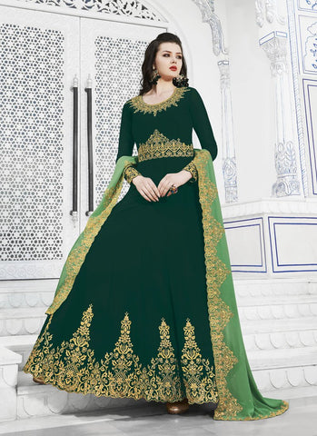 Dark Green Color Soft Georgette Women's Semi Stitched Salwar - RS1753