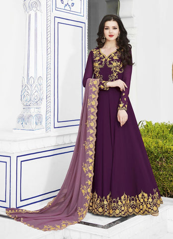 Purple Color Soft Georgette Women's Semi Stitched Salwar - RS1754