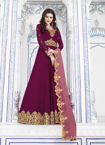 Maroon Color Soft Georgette Women's Semi Stitched Salwar - RS1755