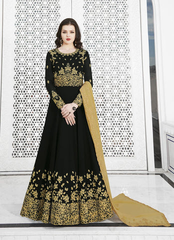 Black Color Soft Georgette Women's Semi Stitched Salwar - RS1756