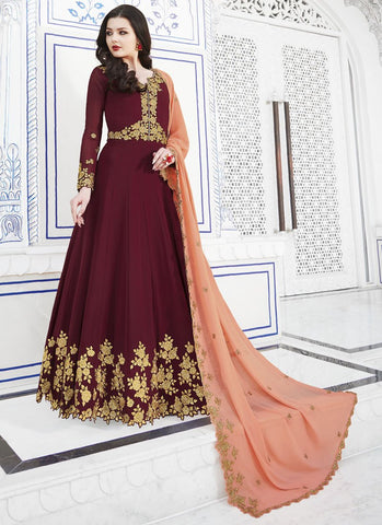 Maroon Color Soft Georgette Women's Semi Stitched Salwar - RS1757