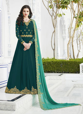 Green Color Soft Georgette Women's Semi Stitched Salwar - RS1758