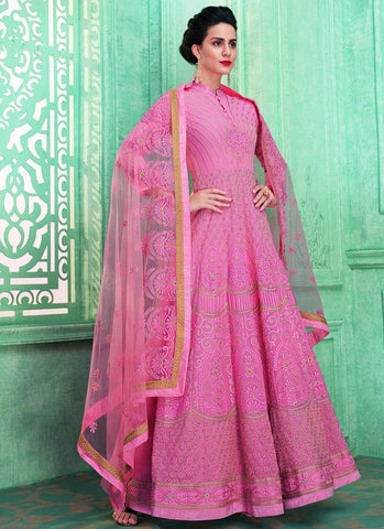 Pink Color Faux Georgette Women's Semi Stitched Anarkali Salwar Suit - RS1780