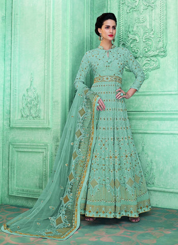 Blue Color Faux Georgette Women's Semi Stitched Anarkali Salwar Suit - RS1782