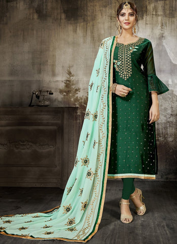 Green Color Heavy Modal Silk Women's Un-Stitched Salwar Suit - RS1803