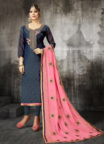 Grey Color Heavy Modal Silk Women's Un-Stitched Salwar Suit - RS1804