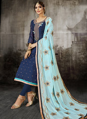 Navy Blue Color Heavy Modal Silk Women's Un-Stitched Salwar Suit - RS1806