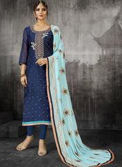 Buy Navy Blue Color Heavy Modal Silk Women's Un-Stitched Salwar Suit