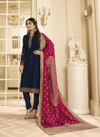 Navy Color Satin Georgette Women's Semi Stitched Salwar Suit - RS1807