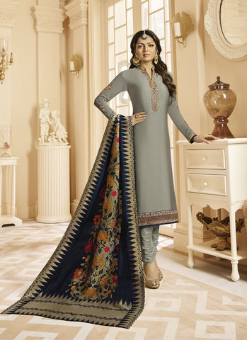 Grey Color Satin Georgette Women's Semi Stitched Salwar Suit - RS1808