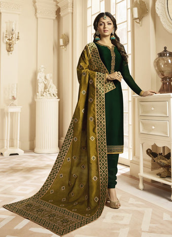 Royal Green Color Satin Georgette Women's Semi Stitched Salwar Suit - RS1809