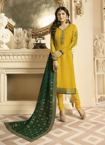 Yellow Color Satin Georgette Women's Semi Stitched Salwar Suit - RS1811