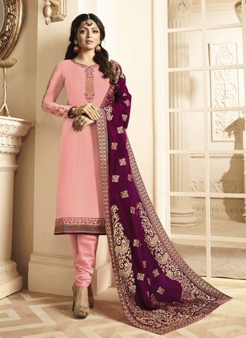 Peach Color Satin Georgette Women's Semi Stitched Salwar Suit - RS1812