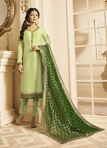 Lime Green Color Satin Georgette Women's Semi Stitched Salwar Suit - RS1813