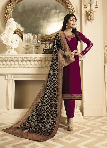 Maroon Color Satin Georgette Women's Semi Stitched Salwar Suit - RS1814