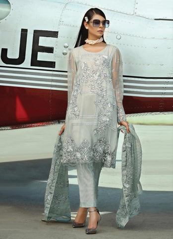 Grey Color Fox Georgette Women's Semi Stitched Salwar Suit - RS1825