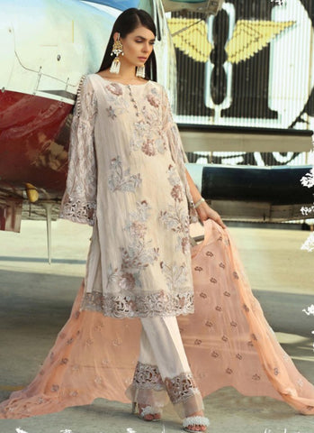 Peach Color Fox Georgette Women's Semi Stitched Salwar Suit - RS1829