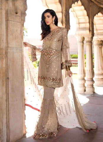 Cream Color Georgette Women's Semi Stitched Salwar Suit - RS1830