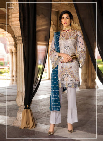 Off White Color Georgette Women's Semi Stitched Salwar Suit - RS1833
