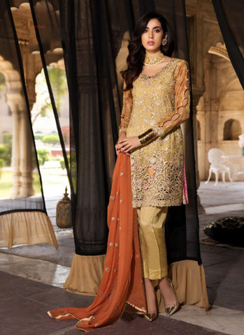 Mustard Color Georgette Women's Semi Stitched Salwar Suit - RS1835