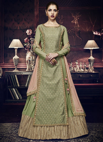 Pista Green Color Georgette Women's Semi Stitched Salwar Suit - RS1837