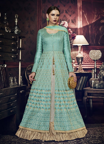 Rama Green Color Handloom Silk Women's Semi Stitched Salwar Suit - RS1838