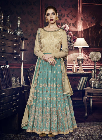 Chiku and Rama Green Color Handloom Silk Women's Semi Stitched Salwar Suit - RS1840