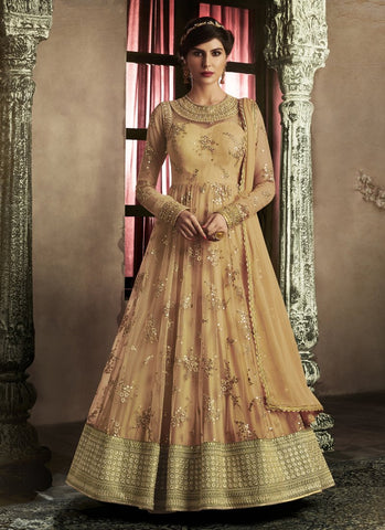 Orange Color Net Women's Semi Stitched Salwar Suit - RS1843
