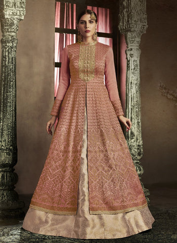 Rust Color Slub Silk Women's Semi Stitched Salwar Suit - RS1845