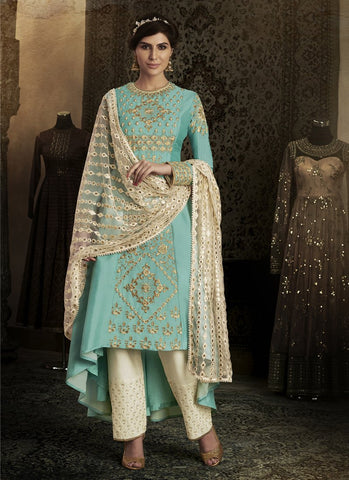 Firozi Color Silk Women's Semi Stitched Salwar Suit - RS1846