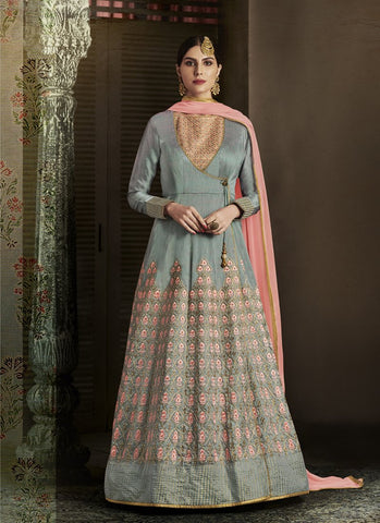 Grey Color Slub Silk Women's Semi Stitched Salwar Suit - RS1847