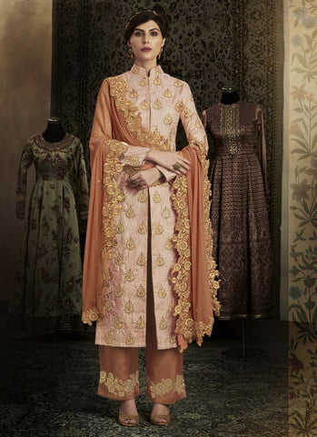 Peach Color Brocade Women's Semi Stitched Salwar Suit - RS1848