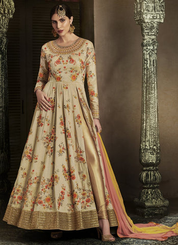 Beige Color Handloom Silk Women's Semi Stitched Salwar Suit - RS1849
