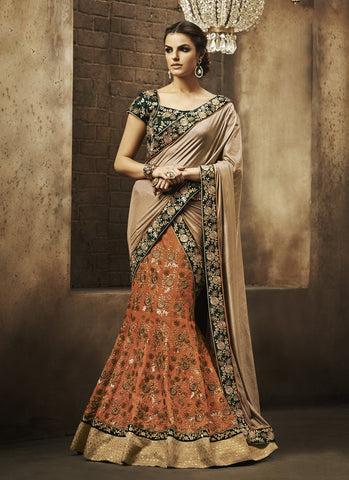 Orange Color Embroidery Women's Semi Stitched Lehenga - RS1850