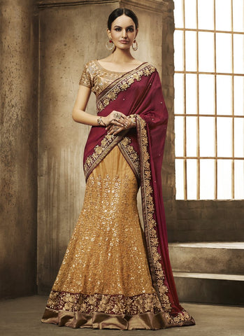 Yellow Color Net Women's Semi Stitched Lehenga - RS1851
