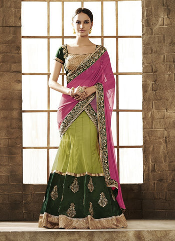 Green Color Net Women's Semi Stitched Lehenga - RS1853