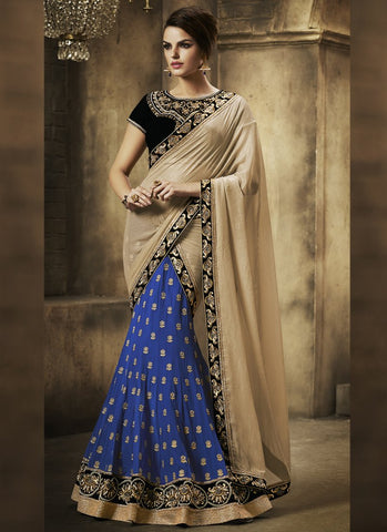 Blue Color Georgette Women's Semi Stitched Lehenga - RS1855